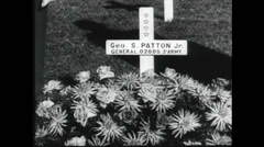 WW2 - Patton 21 - Grave And Statue Stock Footage