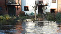 The English floods 2014 (submerged garden) Stock Footage