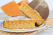 Stock Photo of homemade cake made of coconut and pumpkin