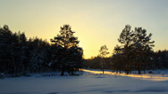 Stock Video Footage of Sun sets over the forest. Stars appear. Panarama. Time Lapse