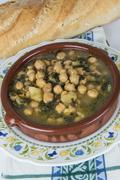 Stew of chickpeas and spinach Stock Photos