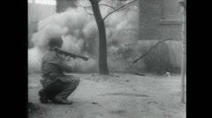 WW2 - Soldiers Firing 03 - Rocket Launcher MG Tanks Stock Footage