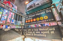New york - jun 12, 2013: 34 street subway station entrance with times square  Stock Photos