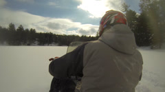 Lake Winter - Snowmobile 04 Stock Footage