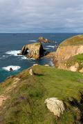 Lands End Cornwall England UK English tourist attraction - stock photo