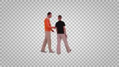 Two males going in profile on alpha channel Stock Footage