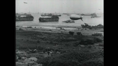 WW2 - Transports 03 - Tanks Materials Soldiers Artillery - Driving Along Street Stock Footage