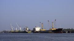 Ships Moored in the River at Bangkok Port Stock Footage