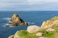 View from Lands End Cornwall England UK English tourist attraction - stock photo