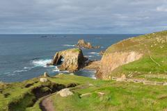 Stock Photo of Coast path Lands End Cornwall England UK English tourist attraction