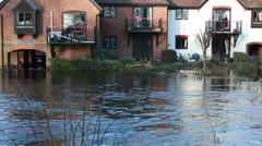 The English floods 2014 (garden bench submerged) Stock Footage