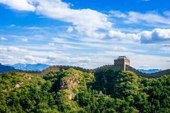 Kiinan muuri kesäpäivänä, Jinshanling kohta lähellä Pekingiä Kuvituskuvat