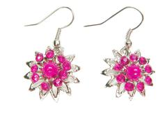Jewelry earrings with bright crystals Stock Photos