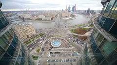 Panoramic view of Moscow on Novoarbatsky bridge and hotel Stock Footage