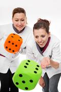 two female nurses concept home care - stock illustration