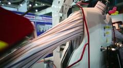 Machine for ironing automatically shirts iron sleeve Stock Footage