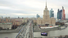 Cityscape with Hotel Ukraine and Moscow City business complex Stock Footage