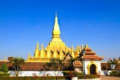 golden pagada in wat pha that luang, vientiane, laos. - stock photo