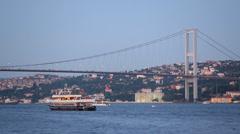 Ataturk Bridge (Bosphorus Bridge) at evening Stock Footage