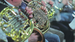 Play French Horn Part Stock Footage