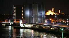 Galata Bridge at night  in Istanbul, Turkey. Stock Footage
