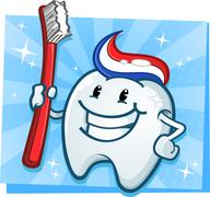Dental Tooth Mascot Cartoon Character with Toothbrush - stock illustration