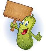Pickle Holding A Sign Cartoon Character Stock Illustration