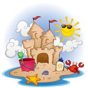 Sandcastle on the Beach Cartoon Illustration - stock illustration