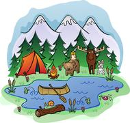 Camping In Summer with Animal Friends - stock illustration
