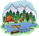 Stock Illustration of Camping In Summer with Animal Friends
