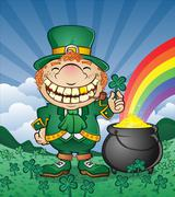 Leprechaun Pot of Gold Cartoon Character - stock illustration