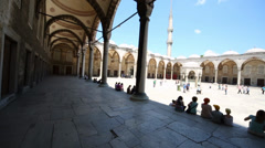 Tourists in front of Sultanahmet Mosque (Blue Mosque) Stock Footage