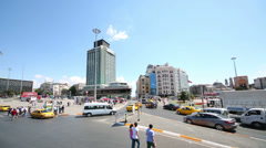 Tall building near station (funicular) on Taksim Square Stock Footage