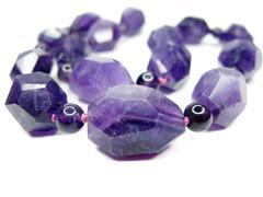 amethyst semigem beads - stock photo