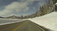 Winter snow high mountain road POV 3 HD 0277 Stock Footage