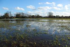 Football pitch flooded - stock photo