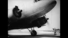 WW2 - US Air Force - Aircraft Towing 06 - Starting DC-3 with Hadrian Stock Footage