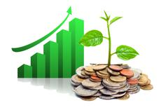 tree growing on coins with green graph - stock illustration