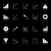 diagram and graph icons with reflect on black background - stock illustration