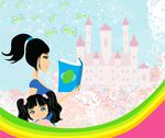 Stock Illustration of mother reading a fairy tale to her daughter and sitting on a rainbow