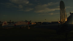 Air Show Sunset Corsair Pan Stock Footage
