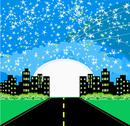 Stock Illustration of highway to city with large moon