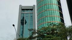 Malaysia Kuala Lumpur 002HD glass fronts of two towers - stock footage