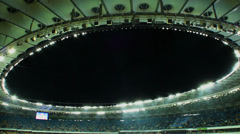 Sport arena roof, stadium for sports even, dark evening sky Stock Footage