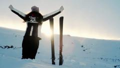 Woman Snow Slope Winter Mountain Reaching Success Concept Stock Footage