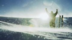 Climber Success Pose Beautiful Mountain Ski Hiking Stock Footage
