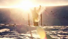 Beautiful Sun Flare High Mountain Climber Worship Pose Stock Footage