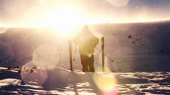 Success Man High Mountain Winter Snow Wind Stock Footage