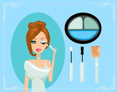makeup.make-up.eyes hadows. eye shadow brush - stock illustration