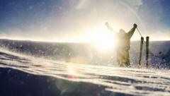 Skier climbing reaching end of journey success concept Stock Footage